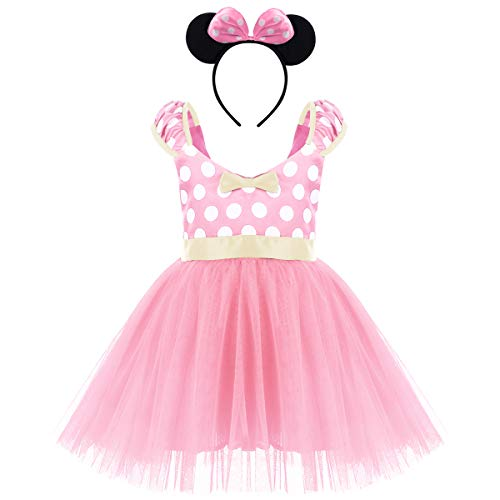 IBTOM CASTLE Cartoon Costume for Toddler Little Girl Tutu Skirt Cartoon Ear Headband Polka Dot First Birthday Halloween Costume Princess Outfits X# Pink Short Dress+Headband 4-5 Years