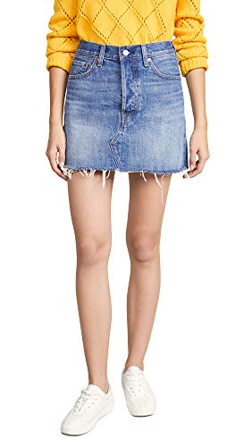 (Levi's Women's Deconstructed Skirt, Middle Man, Blue, 30)