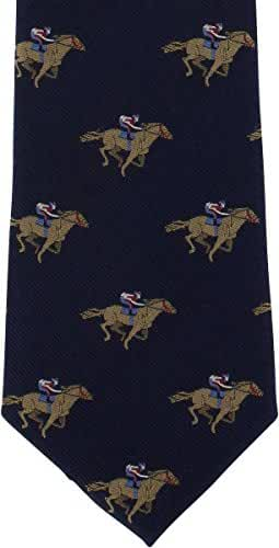 Navy Horse Racing Silk Tie by Michelsons of London