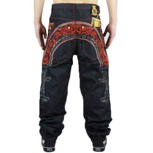 Zero Men's Unique Hip Hop Pompous Tattoo Embroidery Baggy Relaxed Jeans Denim (34)