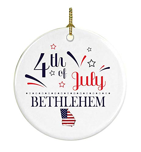 4Th Of July Decorations For The Home Bethlehem Georgia Independence Day Decor Decorations Patriotic American Red White Blue Star Decorations America Pride Ceramic 3 inches -