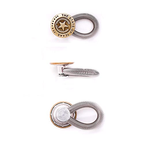 AXEN 8 Pieces Button Waisitband Extender for Denim Jeans Trousers Pants Shirts Collars Elastic Spring Stainless Steel Botton, Style 1