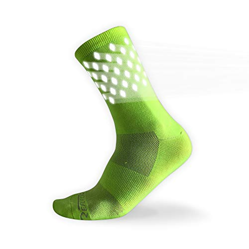 Sock Guy Cycling Running Socks - High Reflective Cycling and Running Socks - Night Safety (L, Yellow) Lightweight-Summer Use