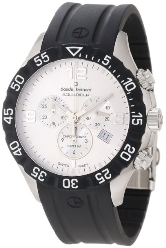 Claude Bernard Men's 10201 3 AIN Aquarider Silver Chronograph Rotating Bezel Rubber Watch