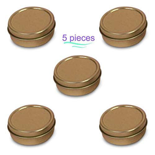 MagnaKoys 1/4oz & 1/2oz Empty Gold Slide Top Round Tin Containers for Lip Balm, Crafts, Cosmetic, Candles, Pocket Size (5, 1/4oz Tins) (0.25 Ounce Pocket)