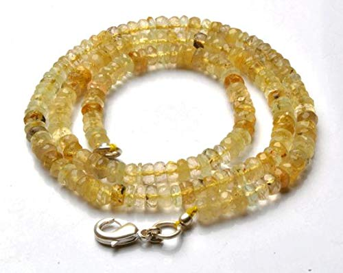 GemAbyss Beads Gemstone 1 Strand Natural 16 Inch Strand,Superb-Finest Quality,Natural Golden Rutilated Quartz Faceted Roundel Beads Necklace 4 to 4.5 MM Code-MVG-21986