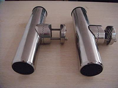 "(2x) Amarine-made Stainless Clamp on Fishing Rod Holder for Rails 1"" to 1-1/4"""