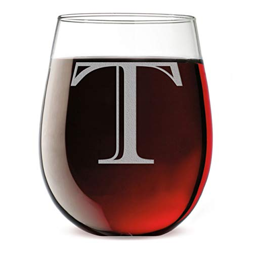 Monogram Etched 17oz Stemless Wine Glass (Letter ()