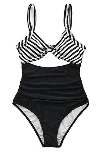 CUPSHE Women's Black White Ruched One-Piece Swimsuit Beach Swimwear Large