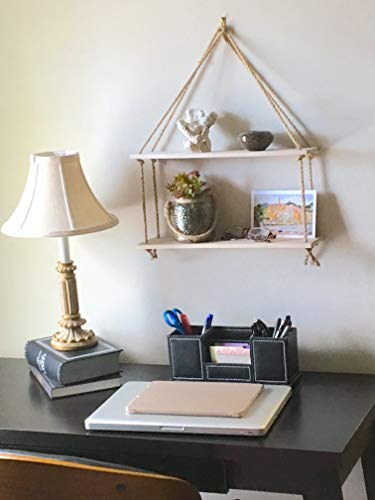 LDYNRED Swinging Hanging Rope Shelf. Floating 2-Tier Wood Shelves. Wall Decor for Storage & Display in Small Spaces. White Birchwood. Hook Included. ()