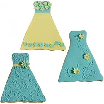Amazon.com: Formal Dress/gown Texture Cookie Cutter Set by Country ...