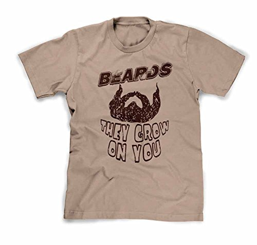 Funhouse Tshirts Men's Beards Grow on You T-Shirt Medium Khaki
