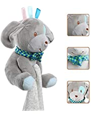 Baby Security Blanket Comforter (Grey Puppy) by Mama Baby, 100% Cotton Soft and Cuddly