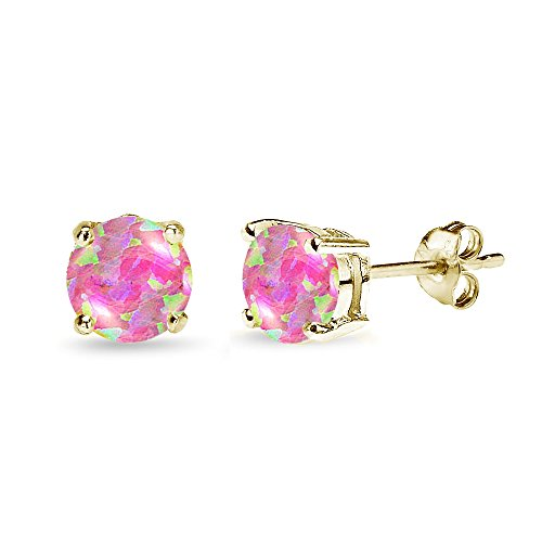 - Yellow Gold Flashed Sterling Silver Simulated Pink Opal 7mm Round-Cut Solitaire Stud Earrings