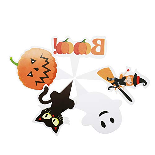 (Halloween Cupcake Toppers picks,Food Picks for Halloween Party Supply Decorations,Pumpkin Cat Ghost Witch Boo,50 pieces(not inclding)