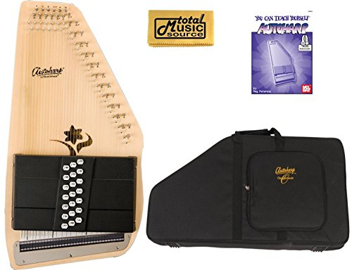 Oscar Schmidt 21 Chord Autoharp, Select Spruce, Flower Shaped Soundhole, OS45CE by Oscar Schmidt