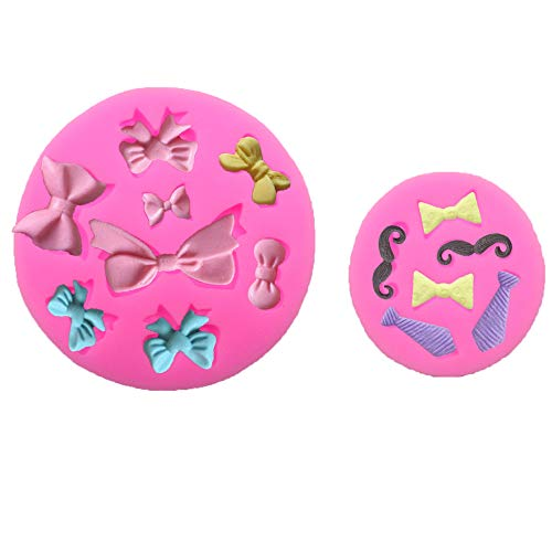 Set of 2 Tiny Size Bow Tie Necktie Mustache Silicone Mold for Fondant Sugar Craft Mould Chocolate Candy Craft Cake Decorating Cupcake Topper