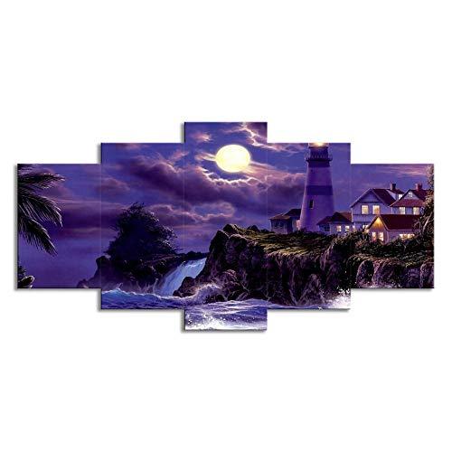 Lighthouse Accent Outdoor Natural (ChuangYing 5-Piece Villa Lighthouse Moonlight Wall Sticker Living Room Decorative Wall Art Wall Sticker)