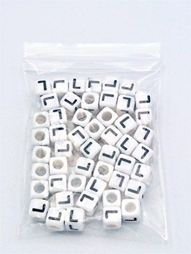 FEQM Pre-Sorted Letter Beads (6mm 50 pcs, White - Black Letter L)