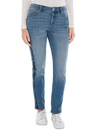 Pants Velvet Jeans (Chico's Women's So Slimming Velvet Side-Seam Girlfriend Ankle Jeans Size 6 S (0.5 REG) Denim)