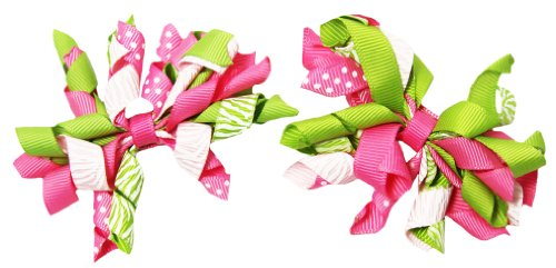 Set of 2 Passion Fruit Curly Ribbon Korker Hair Bow Clips - 2.5