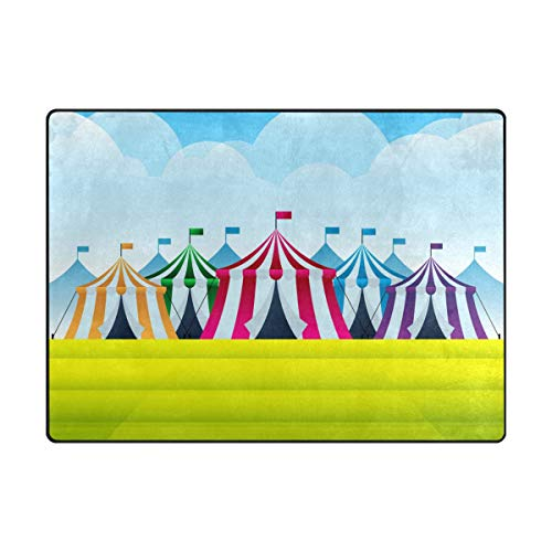Jojogood Circus Tent at County Fair Area Rug Carpet Soft Floor mat for Living Room Bedroom 7' x 5'