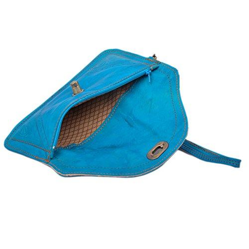 Borsa in mano pelle regalo fatta bel in mano a blu marocchino vera azzurro pelle in a pelle rq0Ar