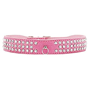 Rayability Bling Bling Dog Collar with Rhinestones-Suede Genuine Leather Collar with 3 Rows of Rhinestones and 1 Ring for Pendants-Beautiful Bling Pet Appearance, XS