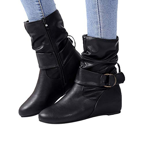 Sunhusing Women Increase Within Boot Side Zipper Round Hook-Loop Decor Slouchy Boots Shoes from Sunhusing