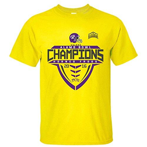 - MVYE Men's TCU Horned Frogs 2016 Alamo Bowl Champions T Shirt Organic Cotton yellow XXL