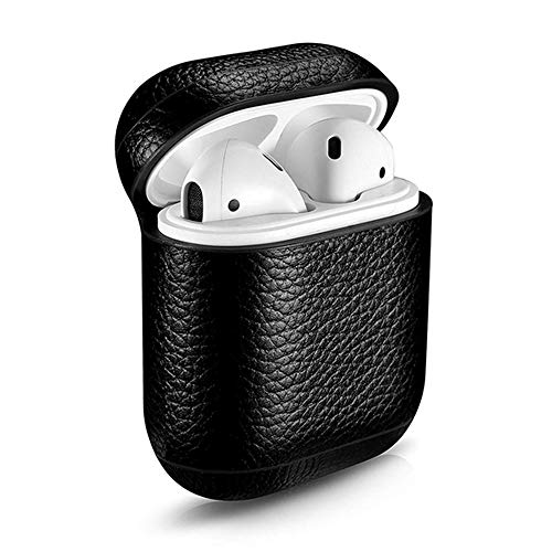 - Leather Case Cover with Strap for AirPods,CLETO Leather Portable Protective Shockproof Cover for Apple AirPods Charging Case-Black(with Key Ring)