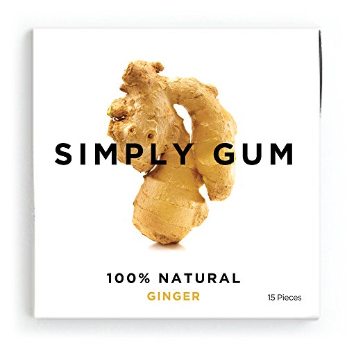 Simply Gum Ginger Natural Chewing Gum - Non GMO, Vegan, 6 Packs (90 Pieces)