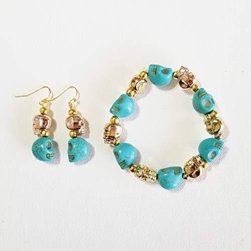 Carved Gemstone Gold Skulls Happy Halloween Bracelet Earrings One of a Kind]()