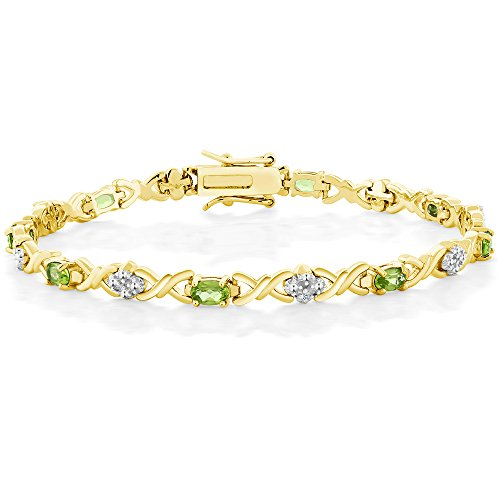 Gem Stone King 18K Gold Plated Sterling Silver Peridot and Diamond Accent Tennis Bracelet, 4.00 Ctw 7 Inch
