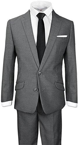 (Black n Bianco Boys Signature Slim Suit in Dark Grey Size 12)