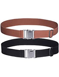 AWAYTR Kids Toddler Belt for Boys - 2 Pieces Zinc Alloy Buckle Elastic Belts for Girls (Black/Brown)