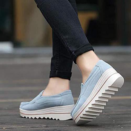 Gris Color de Caqui Qiusa Rocker de EU tamaño Talones Cuero Mocasines Grandes Casuales Zapatos 42 Sole Mujer tt1qPa7