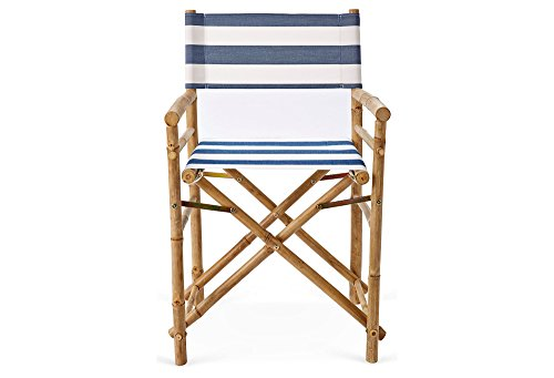 Zew Hand Crafted Foldable Bamboo Director s Chair with Treated Comfortable Striped Canvas, Set of 2 Folding Chairs, Navy White