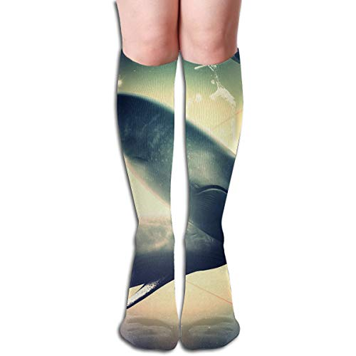 (Bandnae 19.68 Inch Compression Socks Animals Dolphins Space High Boots Stockings Long Hose for Yoga Walking for Women Man)