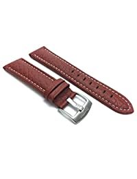 Extra Long (XL), 18mm Tan Classic Genuine Leather Buffalo Pattern Watch Strap Band, White Stitching