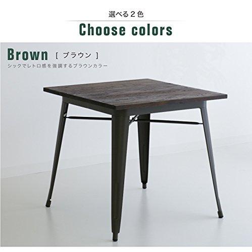 テーブル ダイニングテーブルのみ 単体 ニレ 無垢材 天然木 スチール アイアン (ブラウン) B079DLGVQ9