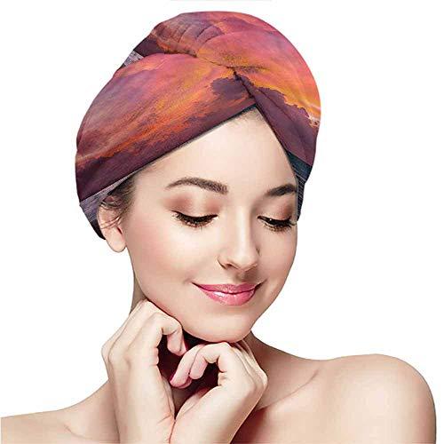 Dry hair towel wrap towel headband dry hair cap bath towel hot spring,Balinese,Tropical Ocean Shoreline -