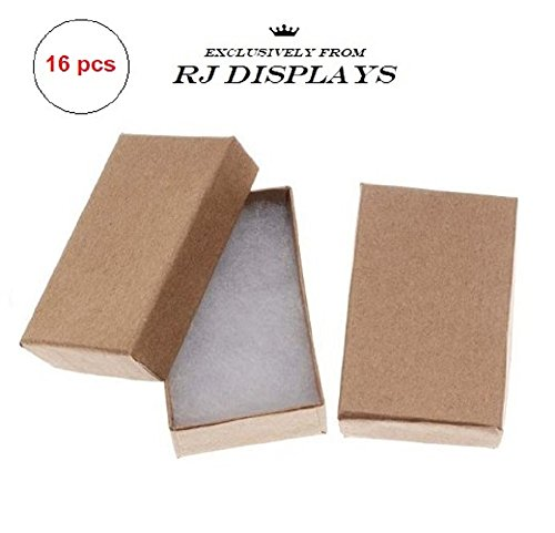 16 Pack Cotton Filled Kraft Paper Cardboard Jewelry Gift and Retail Boxes 3 X 2 X 1 Inch #32 Size by R J Displays