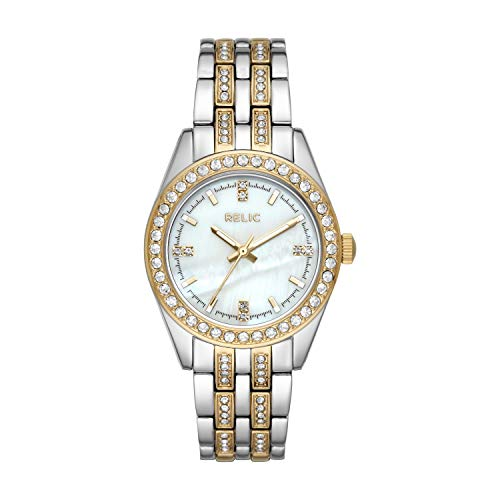Relic by Fossil Women's Iva Two-Tone Metal Quartz Watch with Alloy Strap, 16: ((Model: ZR34536)) - Fossil White Mother Of Pearl
