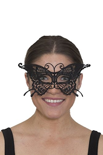 Butterfly Costume Accessories (Womens Pretty Lace Butterfly Mask Black Half Insect Masquerade Costume Accessory)
