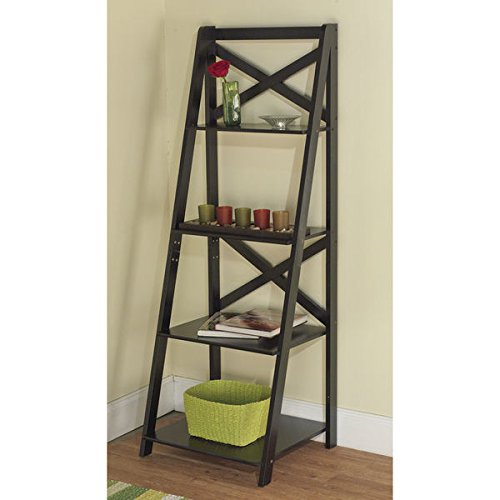 Simple Living Black Wood X - Back design For Durability and Strength 4 - Tier Ladder Shelf