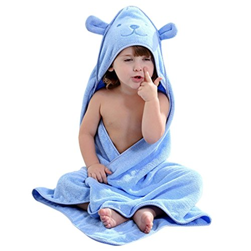 Baby Hooded Towel with Bear Ear- Soft and Thick 100% Cotton Bath Set for Girls, Boys, Infant ad Toddler, Good Choice for Baby Shower Gift … (Blue) - Bear Towel Set