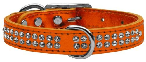 16\ Mirage Pet Products Two Row Clear Crystal Metallic Leather orange Dog Collar, 16
