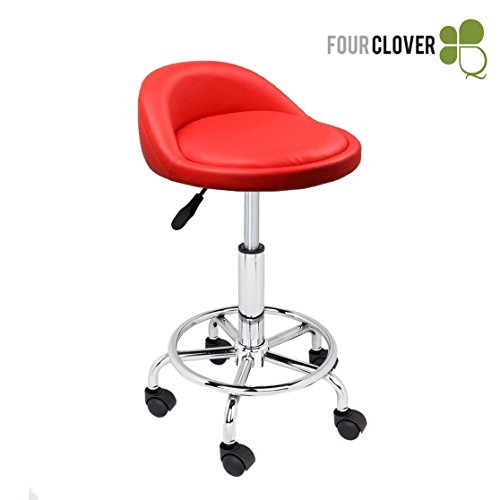 FOUR CLOVER Beauty Hydraulic Rolling Medical Tattoo Adjustable Height Massage Facial Spa Salon Stool Chair Stool w/Wheels (Red)