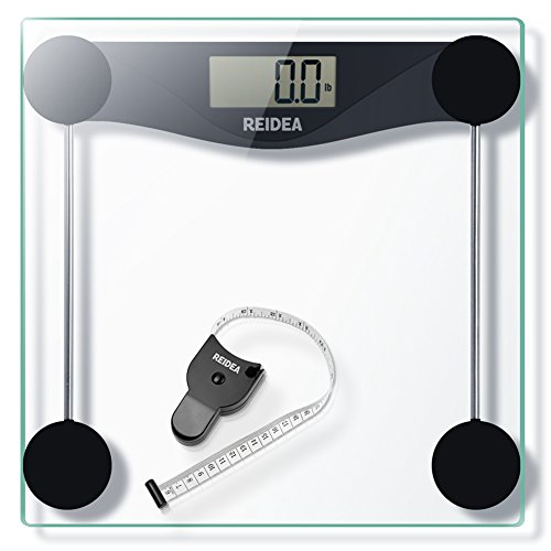 REIDEA High Precision Digital Body Weight Bathroom Scale, 28st/180kg/400lb, Electronic Weighing Scales with Step-On Technology, Body Measure Tap included, Black